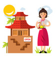 waitress with peking duck flat style vector image vector image