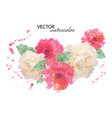 watercolor peony flower vector image