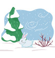 winter white hare or rabbit wild animal in forest vector image vector image