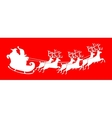 Santa Claus silhouette riding a sleigh with deers vector image