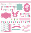 birthday and girl baby shower design elements vector image