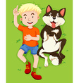 Boy and pet dog on grass vector image