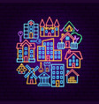 building neon concept vector image vector image