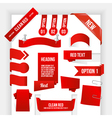 Bundle of Red Web Elements Corner and Ribbon vector image vector image