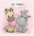 cartoon hippo and giraffe on a pink background vector image vector image