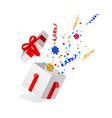 cartoon open present gift box ribbon bow vector image vector image