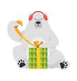 cartoon white polar bear vector image vector image