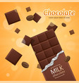 chocolate package bar blank - milk pieces vector image vector image