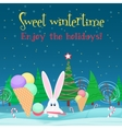 Christmas card background Rabbit with ice cream vector image