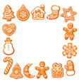 christmas gingerbread cookies square frame hand vector image vector image