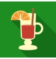 Christmas Mulled Wine with Orange Slice and vector image