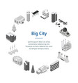 city map concept banner card circle 3d isometric vector image