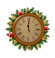 clock with fir tree and ball vector image