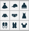 clothes icons set with pompom pants sandal vector image vector image