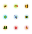 Competition paintball icons set pop-art style vector image vector image