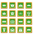 crown icons set green vector image vector image