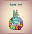 Cute cartoon easter bunny with eggs