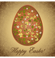 Easter egg with gooseberry gold brown greeting vector image
