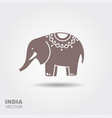 elephant stylized flat icon with shadow vector image vector image