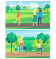 family and friends outdoor people in park vector image vector image