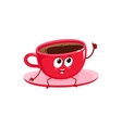 Funny black coffee cup character giving thumb up vector image vector image