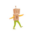funny little boy playing in robot cheerful kid in vector image