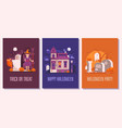 halloween party cards posters or invitation sets vector image