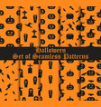 halloween set of seamless patterns with pumpkins vector image