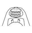 hands holding a burger thick belly concept vector image vector image