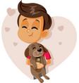 happy boy holding a puppy cartoon vector image vector image
