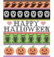 happy halloween patter with skulls ghosts pumpkins vector image vector image