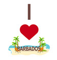 i love barbados travel palm summer lounge vector image