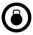 kettlebell icon black color in circle or round vector image vector image