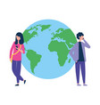 man and woman with smartphone world vector image