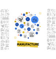 manufacturing line icons template vector image vector image