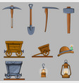 mining items game cartoon icons set vector image