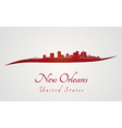 New Orleans skyline in red vector image