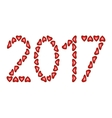 New Year 2017 made from hearts vector image vector image