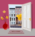 open door into autumn city day sunny view with vector image vector image