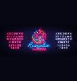 ramadan kareem neon sign leaflet design vector image