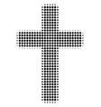 religious cross halftone icon vector image