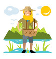 rice field woman flat style colorful vector image
