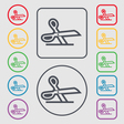 scissors icon sign symbol on the Round and square vector image vector image