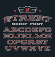 Serif font in street style vector image