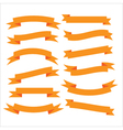 Set of beautiful festive orange ribbons vector image vector image