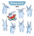 set of cute rabbit characters set 6 vector image vector image