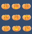set of halloween pumpkins with several emotions vector image vector image