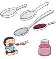set of liquid medicine spoon vector image vector image