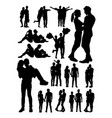 silhouette young couple vector image