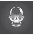 silver skull with wheel eyes on metal background vector image vector image